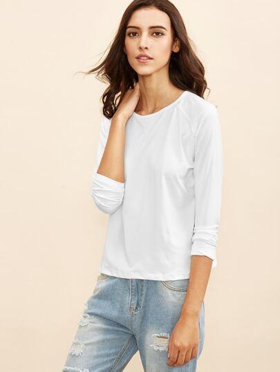White Raglan Sleeve T-shirt