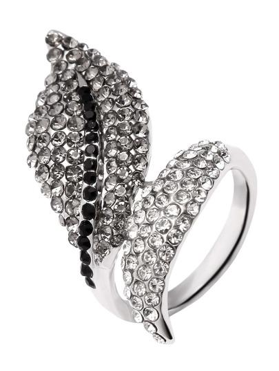 Silver Rhinestone Embellished Leaf Wrap Ring