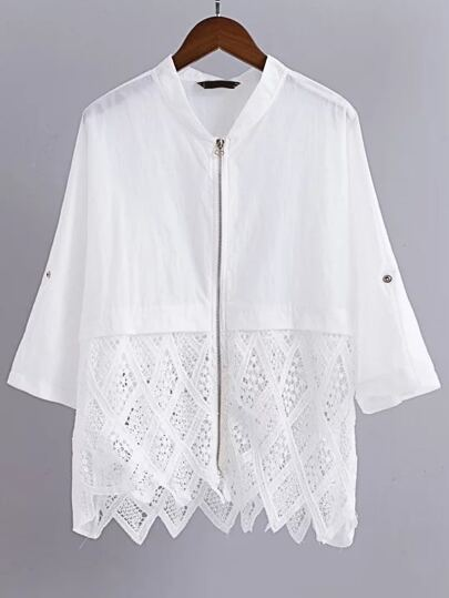 White Elbow Sleeve Lace Trim Zipper Up Coat