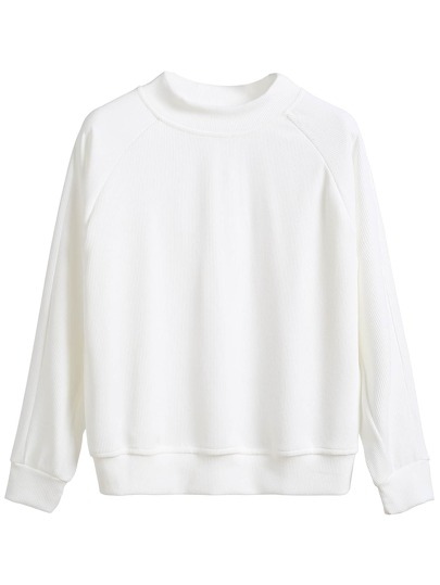 White Raglan Sleeve Sweatshirt
