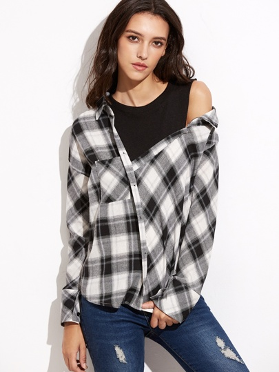 Black And White Plaid High Low Shirt