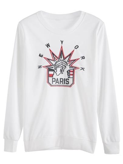 White Pattern Embroidered Sweatshirt