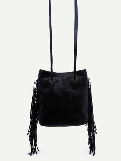 Black Faux Suede Fringe Tassel Bucket Bag