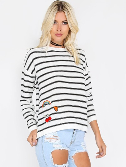 White Striped Drop Shoulder Sweater With Embroidered Patch