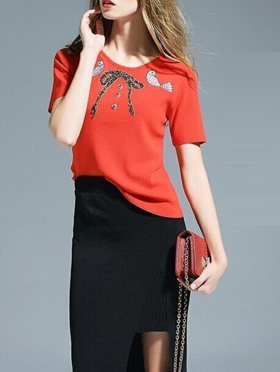 Red Birds Embroidered Bowknot Beading Knit Sweatshirt