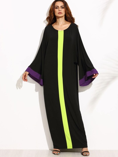 Black Contrast Panel Bell Sleeve Cocoon Maxi Dress