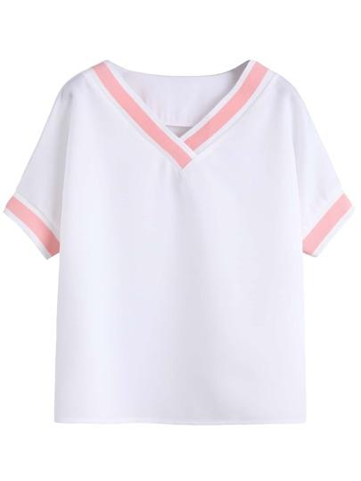 White V Neck Contrast Trim T-shirt