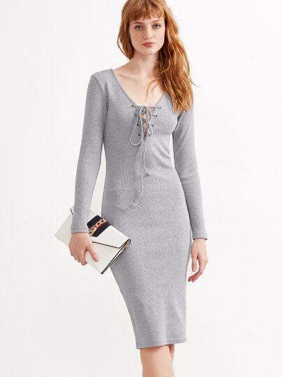 Grey Deep V Neck Lace Up Ribbed Pencil Dress