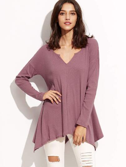 Purple V Cut Asymmetric Dolman Sleeve T-shirt