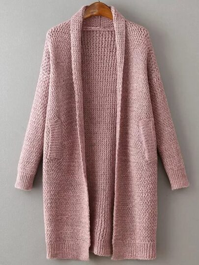 Pink Shawl Collar Drop Shoulder Long Sweater Coat