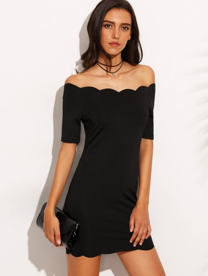 Black Off The Shoulder Scallop Hem Bodycon Dress