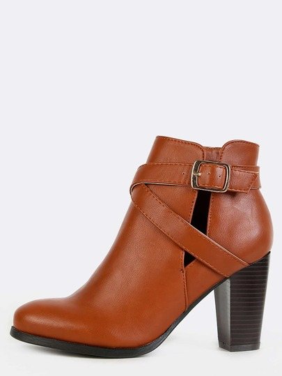 Buckle Strap Slit Ankle Boots CHESTNUT