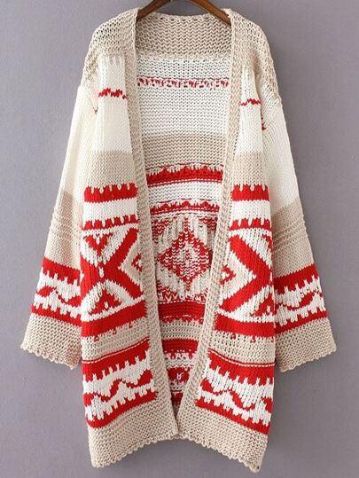 Red Geometric Pattern Loose Sweater Coat