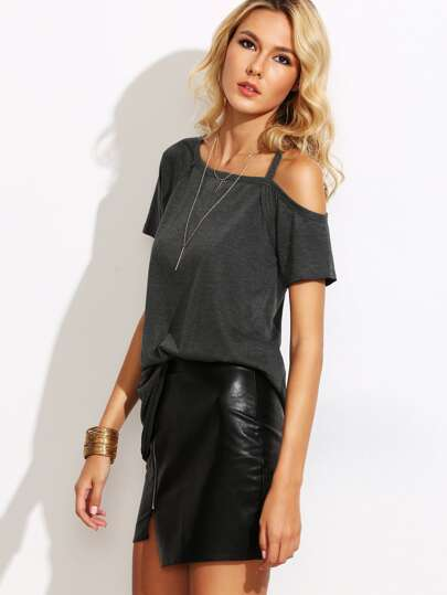 Heather Grey Asymmetric Cold Shoulder T-shirt