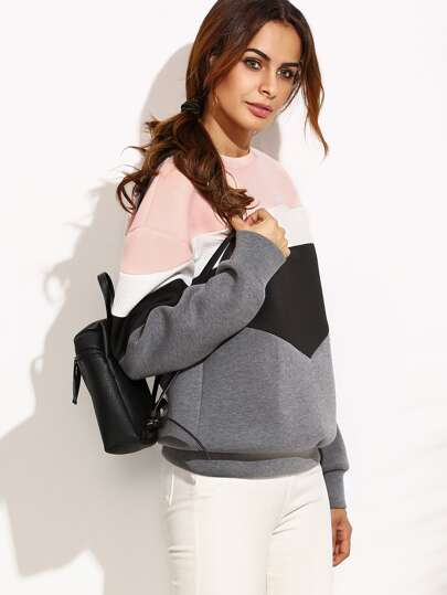 Color Block Drop Shoulder Structured Sweatshirt
