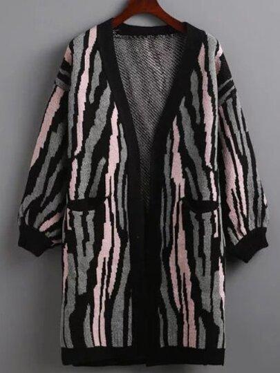 Pink Contrast Zebra Stripe Lantern Sleeve Cardigan