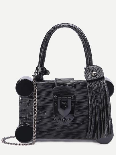 Black Round Plastic Trim Fringe Charm Box Bag