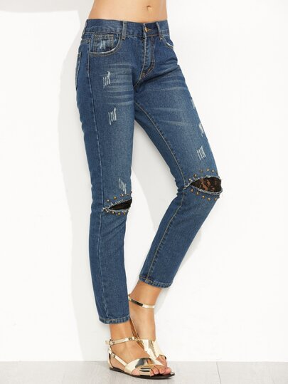 Blue Ripped Lace Insert Studded Ankle Jeans