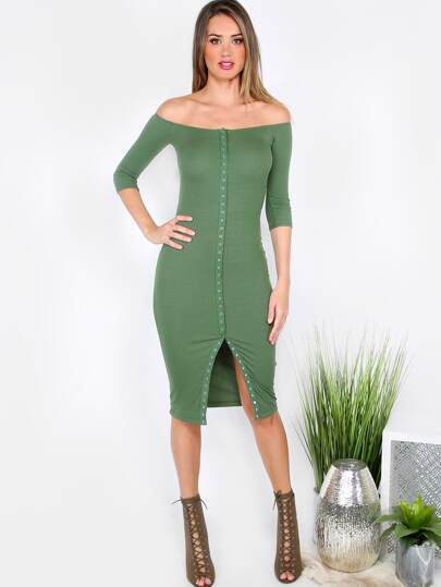 Green Button Front Off The Shoulder Sheath Dress