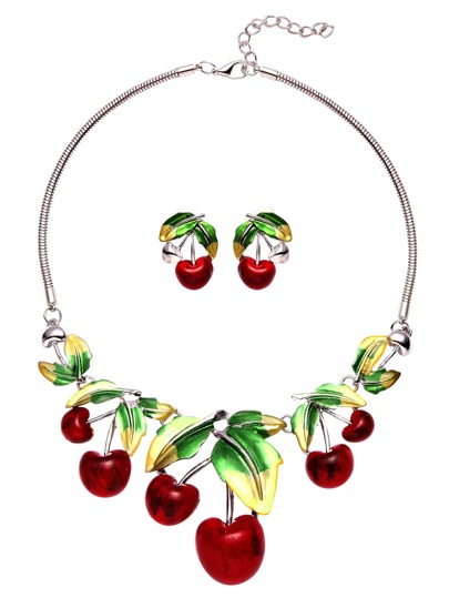 Red Cherry Pendant Statement Jewelry Set