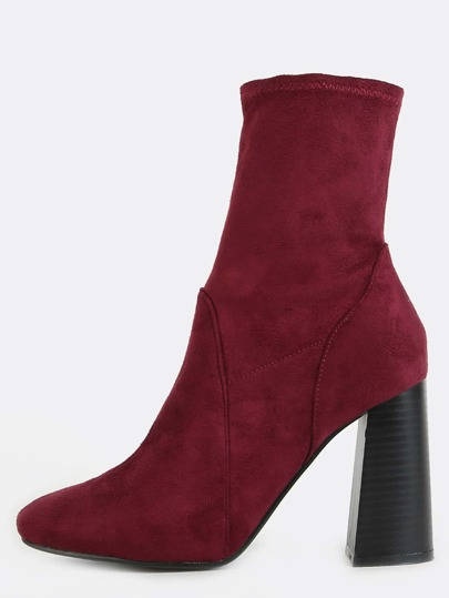 High Shaft Faux Suede Boots WINE