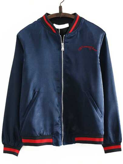 Navy Letter Embroidery Zipper Up Baseball Jacket