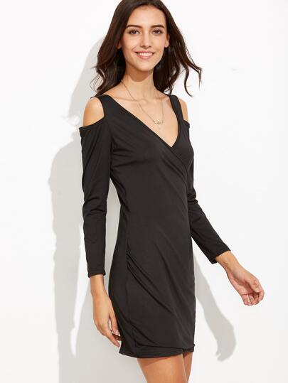 Black Cold Shoulder Wrap Sheath Dress
