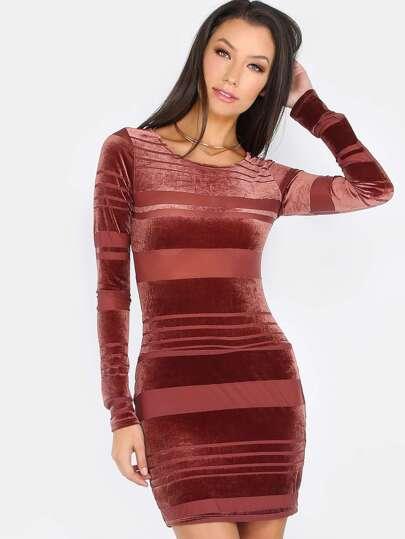 Velvet Mesh Stripe Bodycon Dress MARSALA