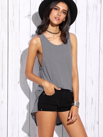 Striped High Low Split Back Tank Top