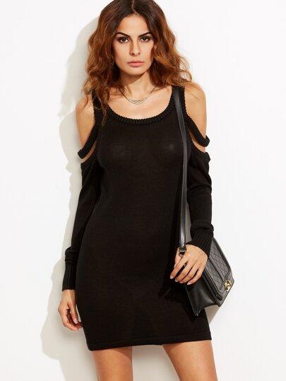 Black Strappy Cold Shoulder Sheath Sweater Dress