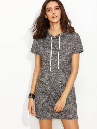 Kapuzen-Kleid mit Tunnelzug und Tasche - grau
