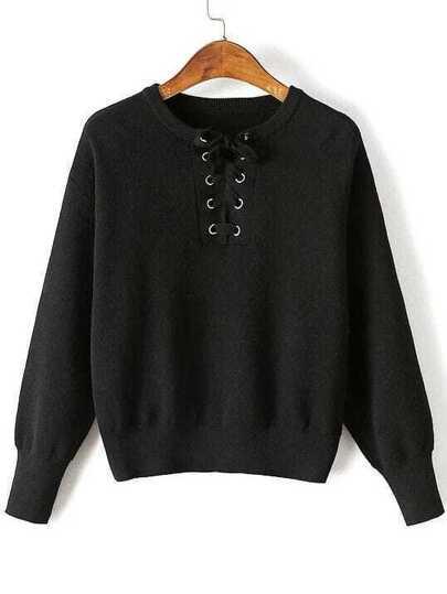 Black Eyelet Lace Up Drop Shoulder Sweater
