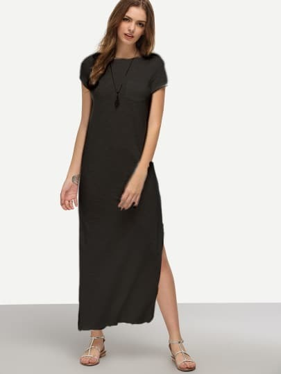 Black Short Sleeve Pocket Split Dress