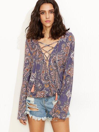 Multicolor Vintage Print Lace Up Long Sleeve Blouse