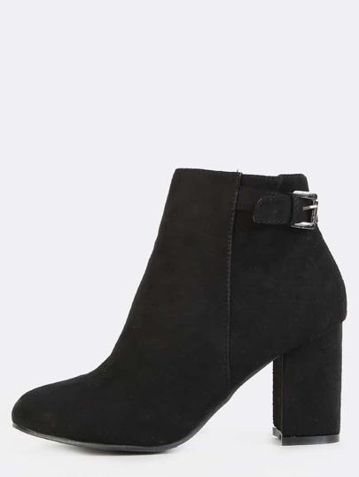 Faux Suede Ankle Strap Boots BLACK