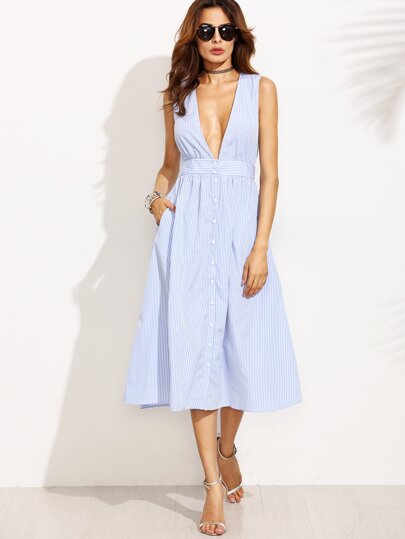 Plunging V-Neckline Striped Button Front Flare Dress