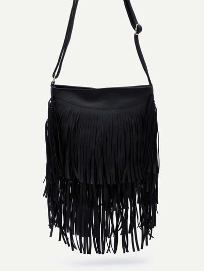 Black Faux Leather Fringe Zipper Shoulder Bag