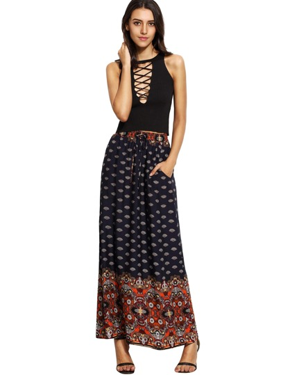 Multicolor Vintage Print Pockets Boho Maxi Skirt