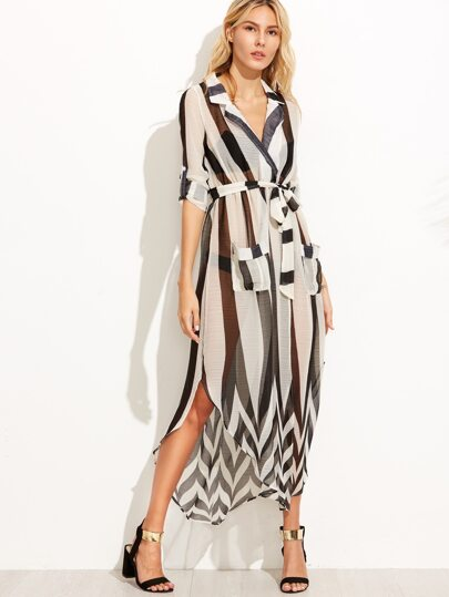 Contrast Vertical Striped Roll Tab Sleeve Self Tie Dress