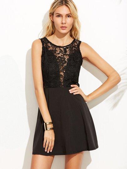 Black Lace Insert V Back Zipper Dress