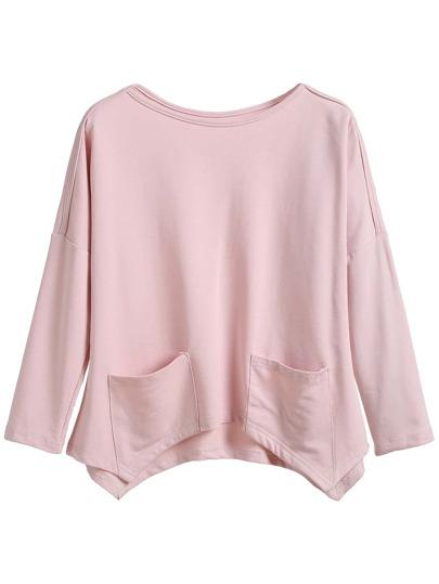 Camiseta asimétrica con hombro caído y bolsillo - rosa