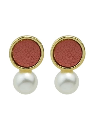 Pink New Coming Imitation Pearl Small Stud Earrings
