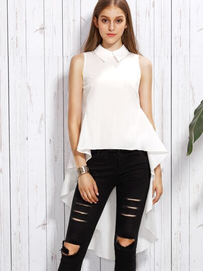White Sleeveless Peter Pan Collar High Low Blouse
