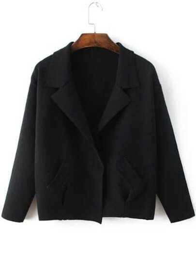 Black Shawl Collar Hidden Button Sweater Coat