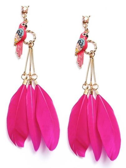 Hot Pink Enamel Parrot Fake Feather Drop Earrings