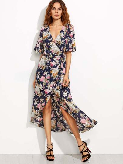 Navy Flower Print High Low Surplice Wrap Dress