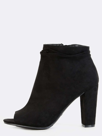 Slouchy Peep Toe Ankle Boots BLACK