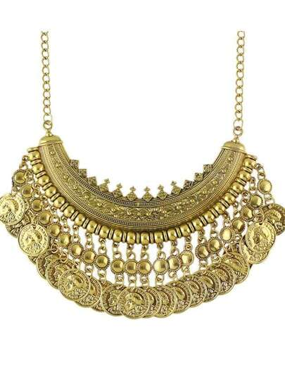 Antique Gold Tibetan Design Hanging Coins Statement Wedding Necklace For Women