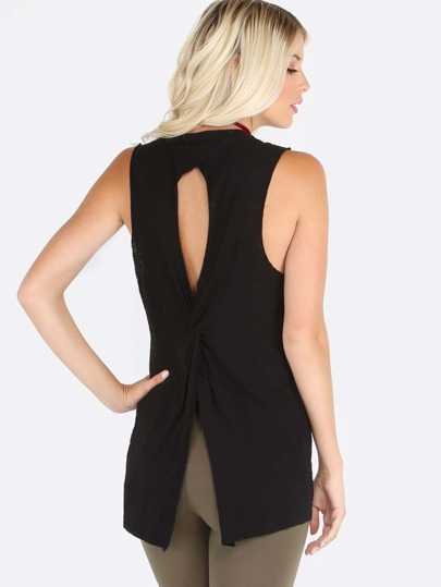 Split Wrap Back Muscle Tee BLACK