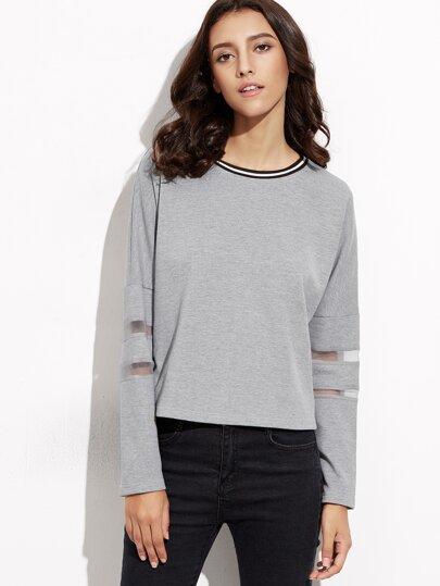 Heather Grey Striped Neck Mesh Insert Sweatshirt